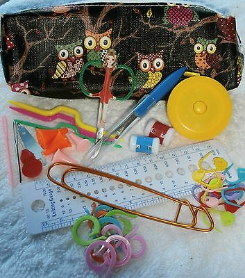 KNITTING TOOLS  KIT - OWL - with zippered bag - colour options - VALUE 42 pcs