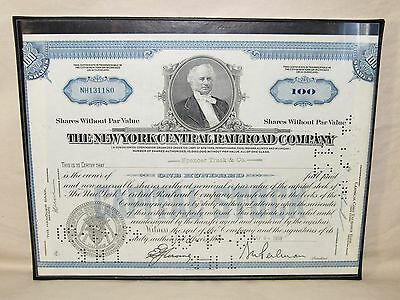 1959 New York Central RR Stock Certificate Railroad Train Company Wall Picture