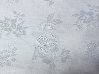 """Antique French Linen Damask Floral  36""""  Napkins Royal Crown Embroidery Mono-8"""