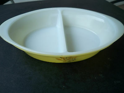 "Glasbake Golden Wheat Pattern on Yellow Divided Dish 8 1/2 x 12"" by Jeanette"