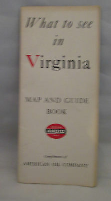 What To See In Virginia Map & Guide Book AMOCO 1940