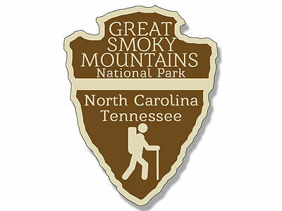 """4"""" great smoky mountains national park arrowhead shaped bumper sticker decal"""