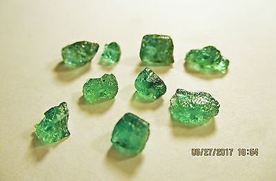 EMERALD FACET ROUGH Grass Green FROM ZAMBIA Natural Untreated 10.20Ct's