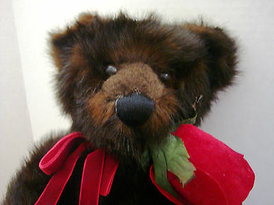 """Hallmark Valentine's 15"""" Bear with Rose and a Secret Front Pouch for Surprise!"""
