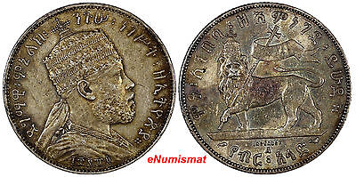 Ethiopia Menelik II Silver EE1889-A 1/2 Birr Paris Mint XF CONDITION Toned KM# 4