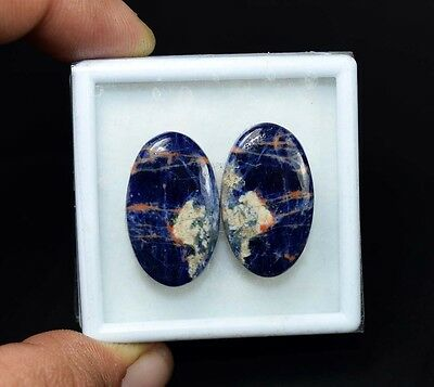 27.00 Cts. 100% Natural Pair Of Multi Sodalite Oval Cabochon Loose Gemstones