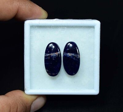 16.50 Cts. 100% Natural Pair Of Multi Sodalite Oval Cabochon Loose Gemstones