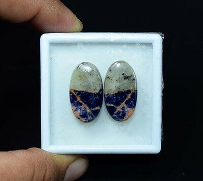 22.90 Cts. 100% Natural Pair Of Multi Sodalite Oval Cabochon Loose Gemstones