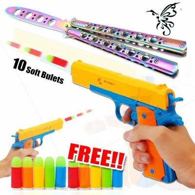 Toy Gun Pistol 10 Soft Bullets Legendary M1911 Realistic 1:1 & Butterfly Knife