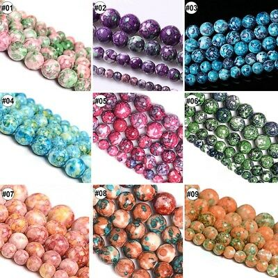"""Natural Rain Flower Stone Round Loose Beads 15.5"""" Inches Strand 6 8 10 12mm"""