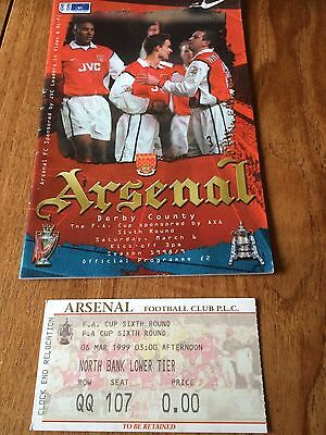ARSENAL v DERBY COUNTY - FA CUP 6TH ROUND, 6/03/1999 WITH TICKET