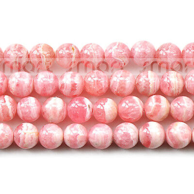"""3A Natural Rhodochrosite Round Loose Beads 15.5"""" Inches Strand 4 5 6mm"""