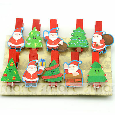 10PCS Christmas Tree Wood Clips Photo Paper Pegs Clothespin Craft Decor 1 Set
