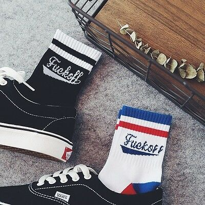 Mens Stripe **** Off Socks Cotton Crew Skate