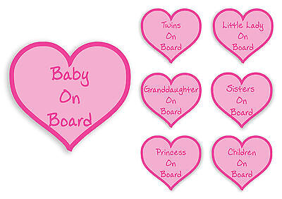 BABY/PRINCESS/SISTERS ON BOARD PINK HEART STICKER Car Van Child Children Safety
