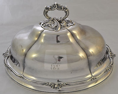 Antique Old Sheffield Silver Plate Armorial Meat Dome OSP c 1815