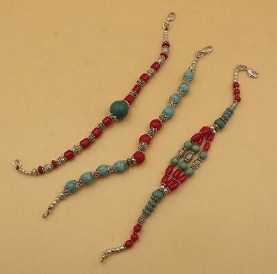 3Pcs.Lot Beautiful Red Coral & Turquoise 925 Silver Overlay Bracelet KA5363