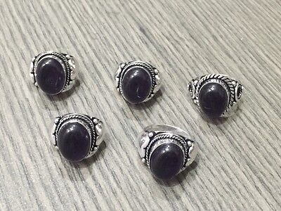 WHOLESALE LOT 5 pcs AMETHYST STONE.925 STERLING SILVER OVERLAY RING 40 GMS