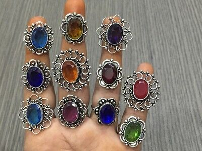WHOLESALE LOT 11 pcsTANZANITE&MULTI-STONE.925 SILVER PLATED HANDMADE RING 65 GMS
