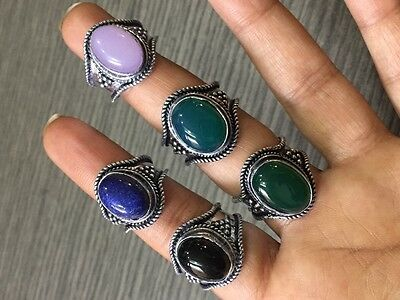 WHOLESALE LOT 5 pcs GREEN ONYX &MULTI-STONE.925 STERLING SILVER OVERLAY RING