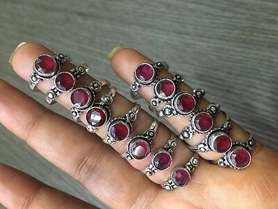 WHOLESALE LOT 14 pcs PINK RUBELITE STONE.925 SILVER PLATED RINGS 21 GMS