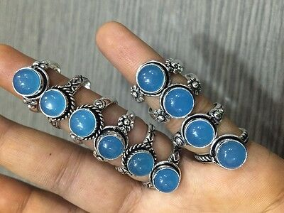 WHOLESALE LOT 10 pcs CHALCEDONY STONE.925 SILVER PLATED DESIGNER RINGS 32 GMS