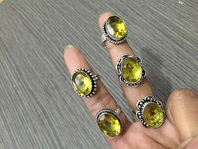 WHOLESALE LOT 5 pcs CITRINE STONE.925 STERLING SILVER PLATED RINGS 42 GMS