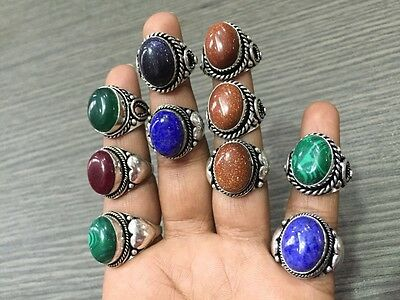 WHOLESALE LOT 10 pcs RED SUNSTONE &MULTI-STONE.925 SILVER PLATED RING 79 GMS