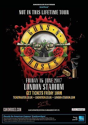 Guns N Roses Not In This Lifetime Tour 16 June 2017 London Poster Print A6+A4+A3