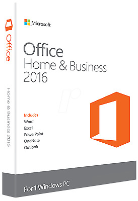 Microsoft Office 2016 Home & Business Life Time Licence Key with Sealed Box !!