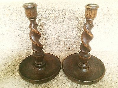 Matching Pair Oak Barley twist Candlesticks Original Brass Sconces Rich Patina