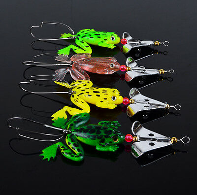 Bulk Soft Plastic Frog Fishing Lure Spinner With Hook Bass Sinking Snapper Barra