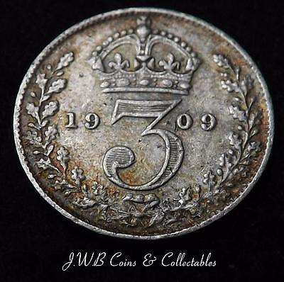 1909 Edward VII Silver Threepence Coin - Great Britain