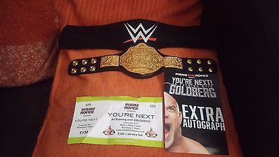 WWE GOLBERG HAND SIGNED HEAVYWEIGHT CHAMPIONSHIP MINI BELT with COA WCW
