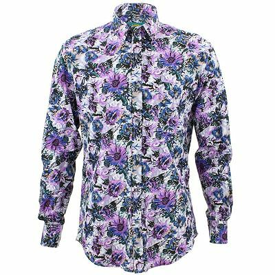 f5a57679 Mens Loud Shirt Retro Psychedelic Funky Party TAILORED FIT Abstract Floral