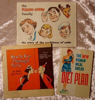 Mix LOT of 3 Vintage Recipe, Household Hints & 'How To' Booklets 1950's