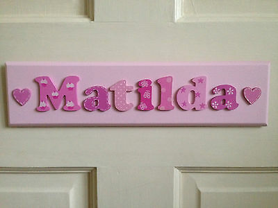 BESPOKE CHILDRENS GIRLS WOODEN NAME PLAQUE personalised door sign SINGLE NAME