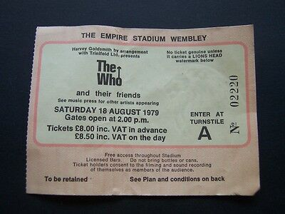 1979 The Who Original Vintage Concert Ticket Empire Stadium Wembley