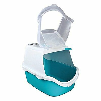 Trixie Vico Easy Clean Cat Litter Tray with Dome, 40 x 40 x 56 cm, Turquoise/Whi