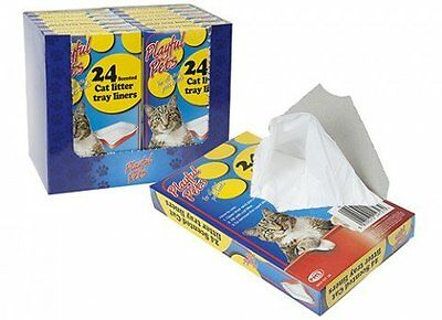 24 pack scented cat litter tray liners disposable bags white 66cm x 30cm