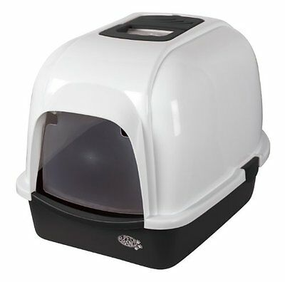 Pet Brands Oval Cat Litter Tray with Hood and Filter, Black
