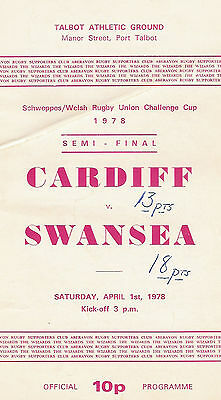 Cardiff v Swansea - Welsh cup semi-final 1 Apr 1978 RUGBY PROGRAMME