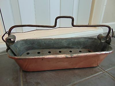 Antique French Roll Top Dovetailed Copper Fish Kettle Poacher With Liner