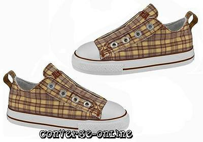 Infant Boy Girl CONVERSE All Star LACELESS Plaid SLIP ON Trainers Shoe UK SIZE 6