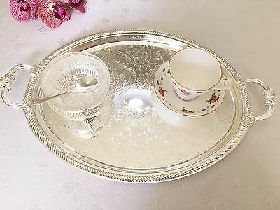 Queen Anne Silver Plated Shallow Oval Tray-Handles