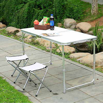 Outdoor Foldable Picnic Camping Garden Folding Table & 4 Chair Set