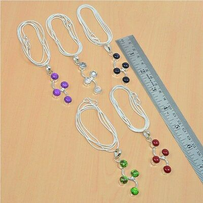 Wholesale 5Pc 925 Silver Plated Turquoise & Mix Stone Long Pendant-Chain Lot
