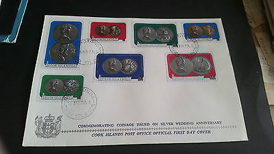 Cook Islands 1973 Sg 417-423 Silver Wedding Coinage First Day Cover