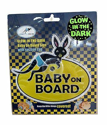 """Glowing in The Dark UV Reflecting """"Baby on board"""" Car Sign with Suction Cup"""