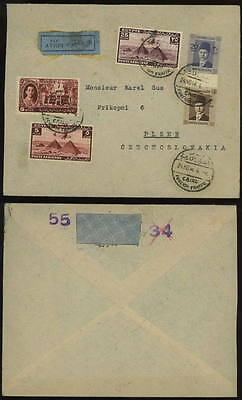 EGYPT 1946 airmail label cover to Czechoslovakia
